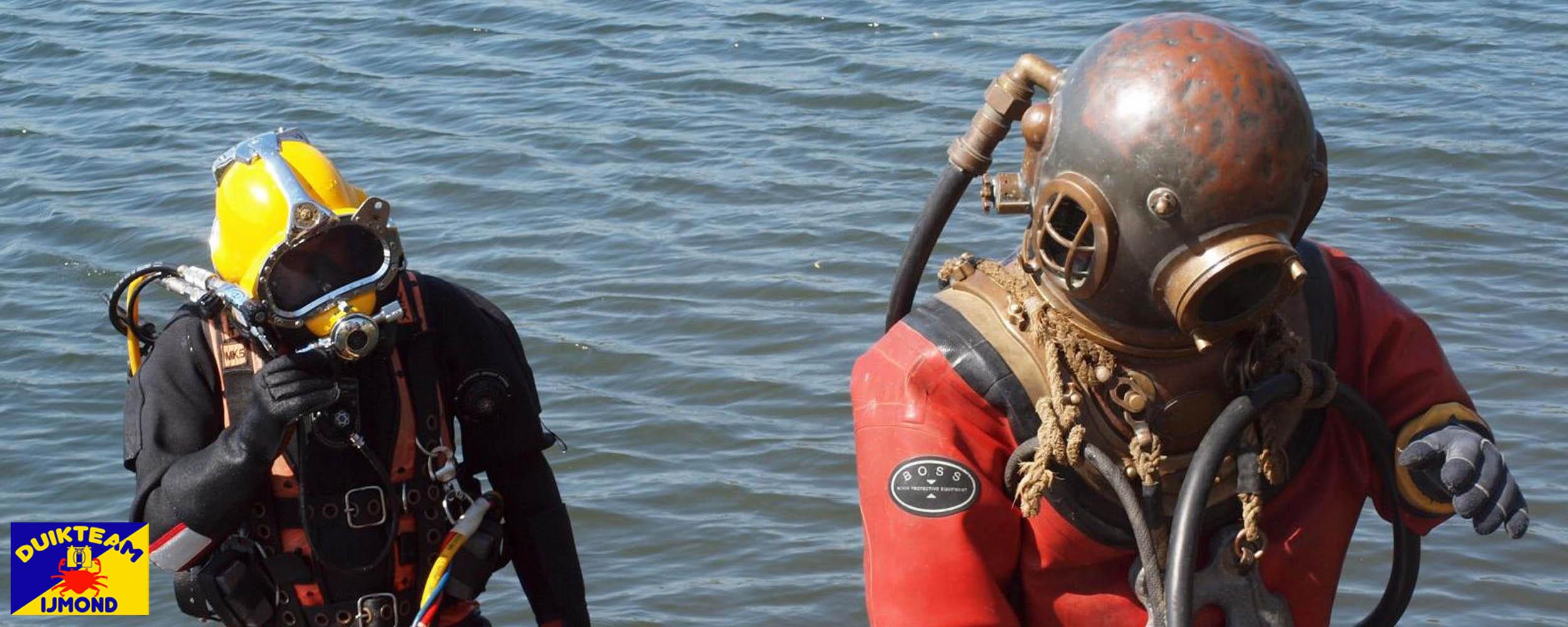 kirby morgan en siebe gorman helmduikers bij duikteam ijmond